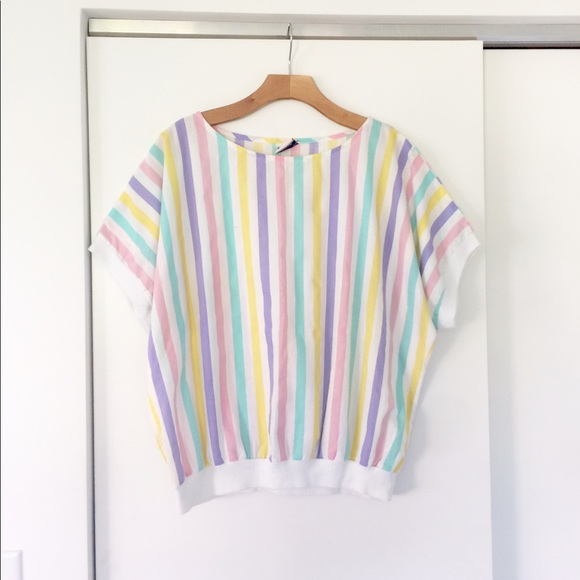 8efa7da947232 Vtg 80s Pastel Rainbow Stripe Short Sleeve Shirt L.  M 5b0daafe00450fc060bd1bf2. Other Tops you may like. Vintage !X Maggie  Sweet Coral Embroidered Blouse